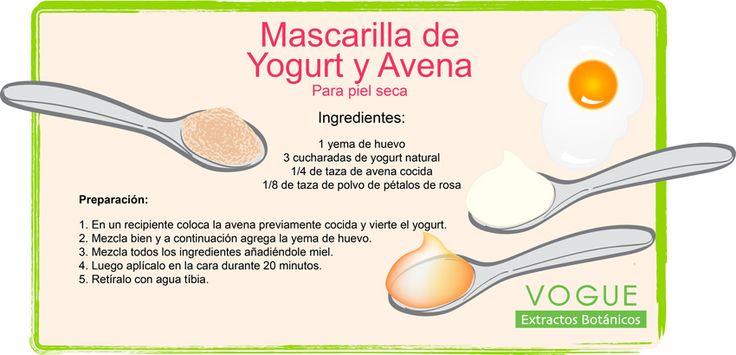 Mascarilla de Yogurt y Avena Para piel seca Extractos Botánicos