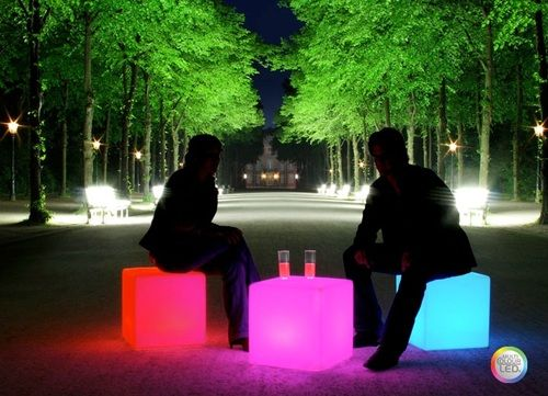 "Image Gallery for Outdoor LED Light Cube 17"" - Cordless with remote control"