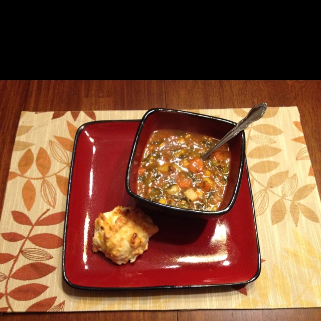 Homemade veggie soup and cheddar garlic biscuits!!!!! Oh Yes it was awesome :)