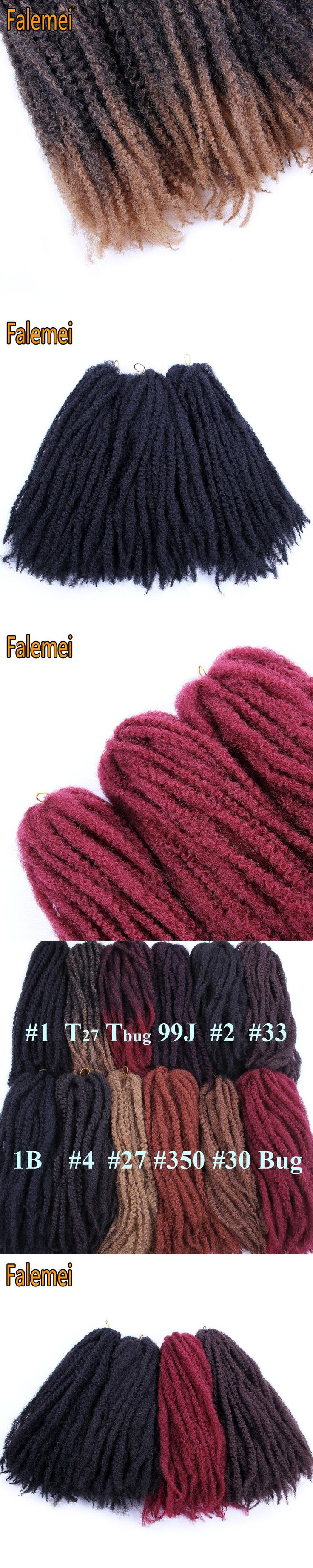 FALEMEI 18inch 100g/pack Synthetic Marley Braids Crochet Hair Afro Twist Braiding Hair Extensions LowTemperature Fiber