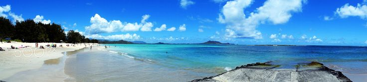 Kailua Beach Panorama - Kailua Beach is easily one of Oahu's most underrated locations. I went there on a perfect summer day; the beach was so bright, it practically glowed.