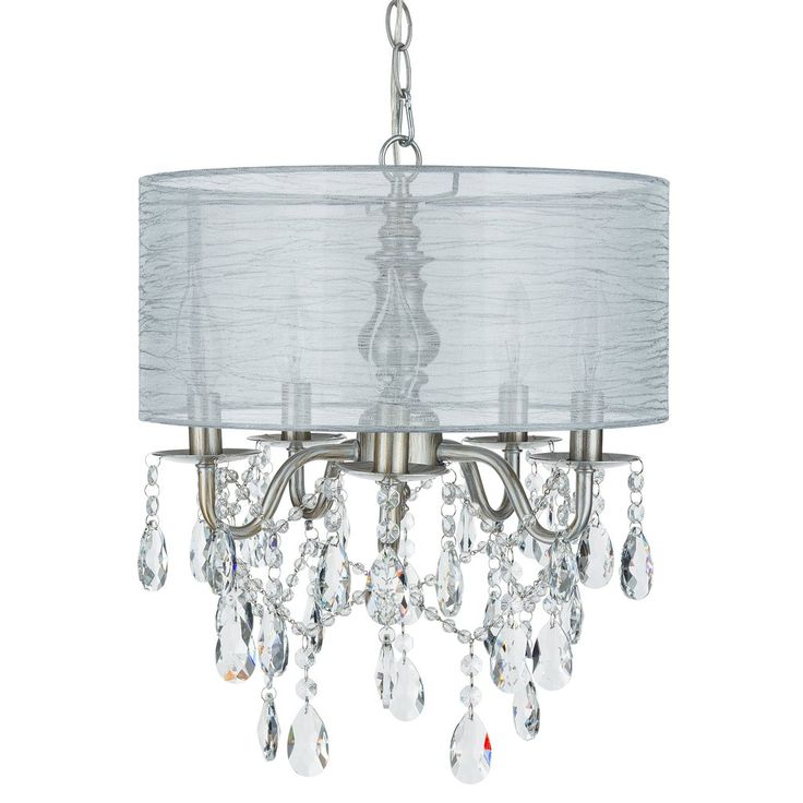 5 Light Crystal Plug In Chandelier with Cylinder