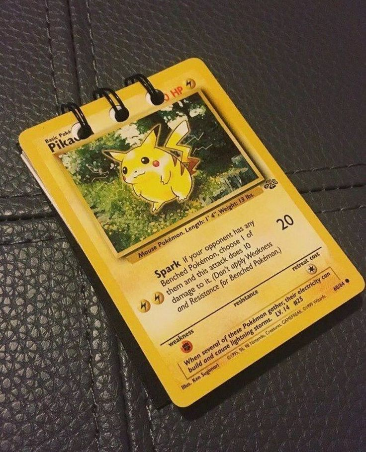 Pikachu Pokemon Card Upcycled Handmade Notebook