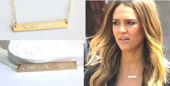 Engravable Gold Bar Necklace Nameplate  Kim Kardashian Mothers Children's Name Personalized Custom necklace Monogram Silver Celebrity Style