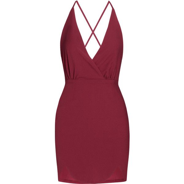 Yoins Plunge Thin Shoulder Backless Pleats Mini Dress (795 RUB) ❤ liked on Polyvore featuring dresses, burgundy, burgundy short dress, plunge dress, red mini dress, short backless dresses and burgundy dress
