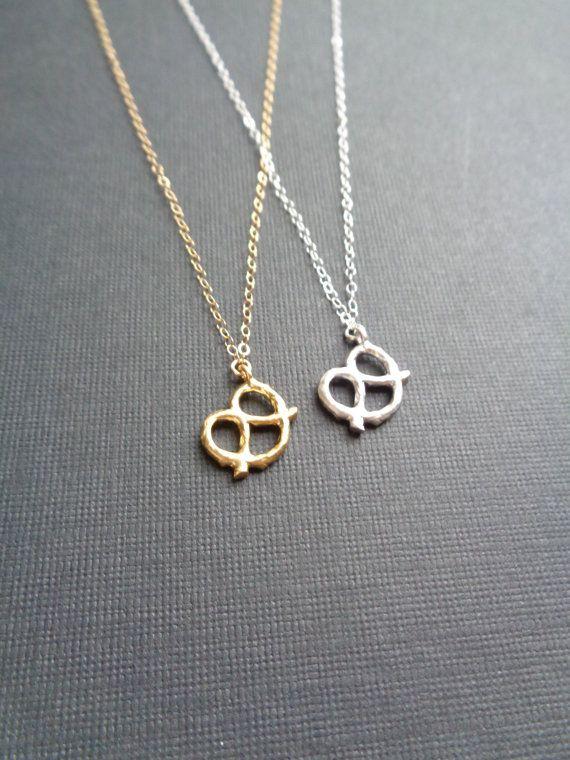 Pretzel Necklace Silver Or Gold Pretzel Lover by AnechkasJewelry