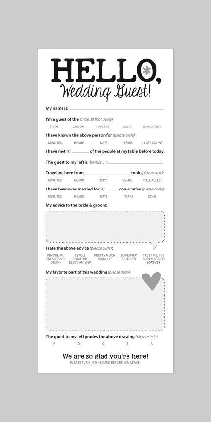 Funny Wedding Reception Icebreaker Cards, Entertain Your Guests, Marriage Advice, Printable PDF