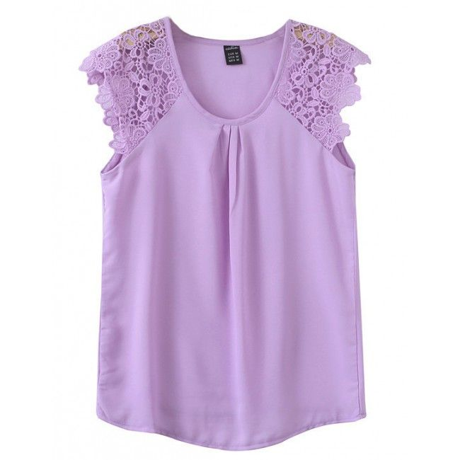 Lace Sleeves Sheer Lavender Blouse