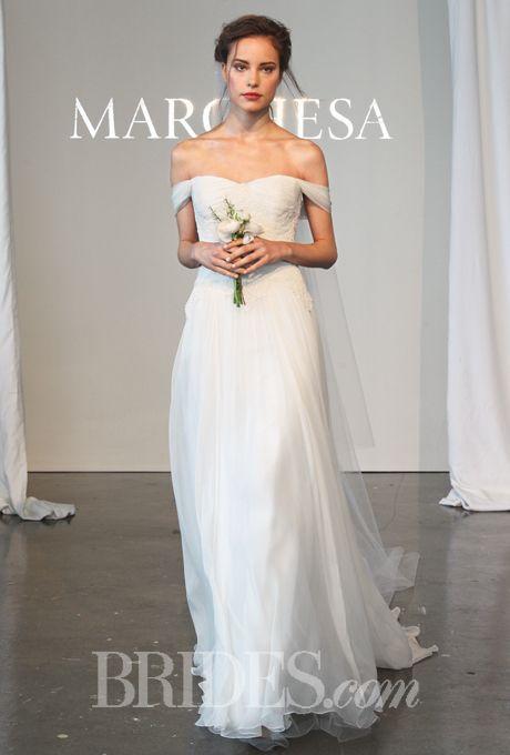 Grecian-Inspired Off-the-Shoulder Silk Chiffon A-Line Marchesa Wedding Dress - Spring 2015 Collection