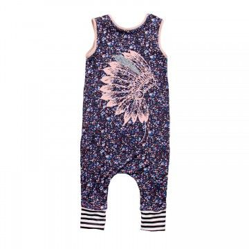 Rags to Raches The Chief Tank Romper - This cute Rags to Raches romper sports a printed peach colored 'Chief' design.  The romper is true to size and hits just below the knee.  If you like a baggier look, you can always size up. BabyCubby.com