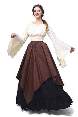 Offerta di oggi - Nuoqi Donne Medievale Abiti Retrò Dalla spalla vestito  camicia+gonna a Eur. 69.99 invece di Eur. 119.99 39b04d47691