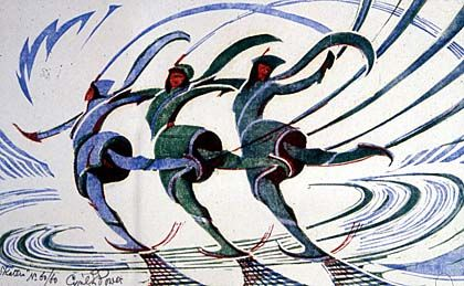 a print of three skaters