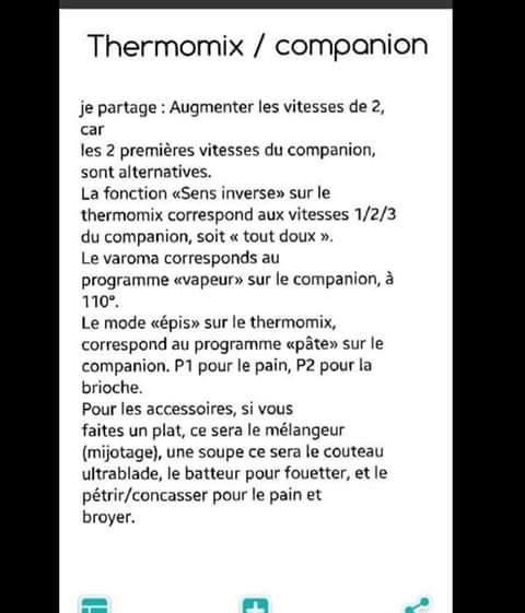 Conversion thermomix - companion