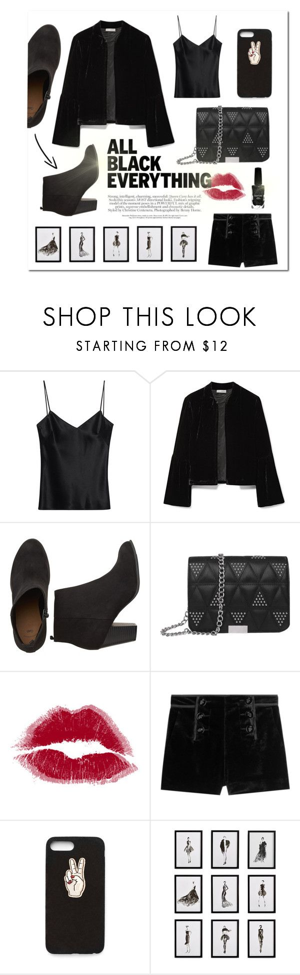 """she wore black velvet"" by adyssasasha ❤ liked on Polyvore featuring Galvan, Ulla Johnson, Emilio Pucci, Nasty Gal, Frontgate, Azature and allblackoutfit"