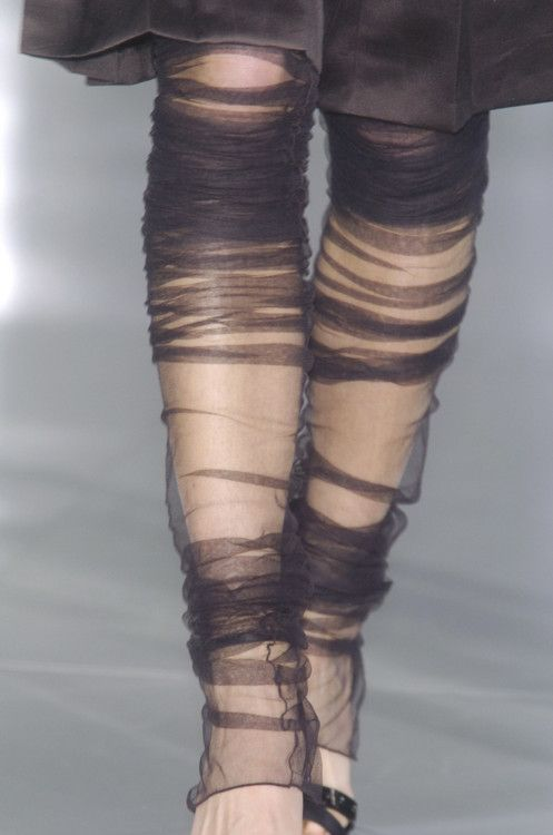 Sheer Ruched Leggings - cool fashion details // Chanel fw/05