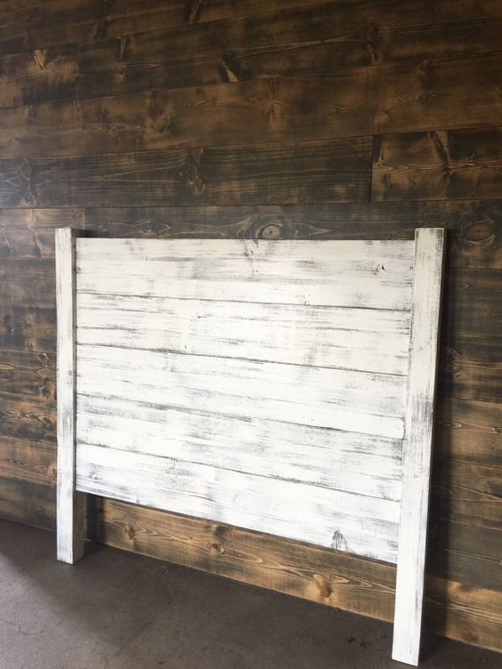 Shiplap headboard distressed white wood headboard for Painted on headboard