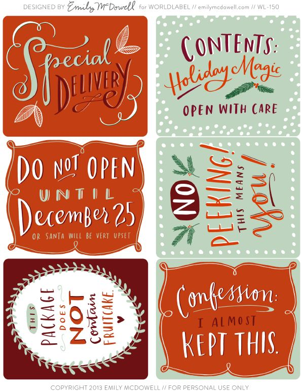 Printable Holiday Labels for your gifts and packages.