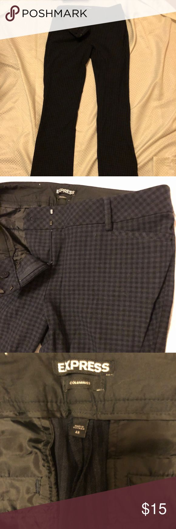 Express Columnist Pants 4R stretch NWOT Express Columnist Pants 4R stretch NWOT, black and navy plaid / checkered print. Slim boot cut / barely boot cut style. Extremely flattering, very comfortable (feels like pointe fabric, thick and stretchy. ** Smoke free, pet friendly home. Inseam= approximately 32.5 inches Express Pants Trousers