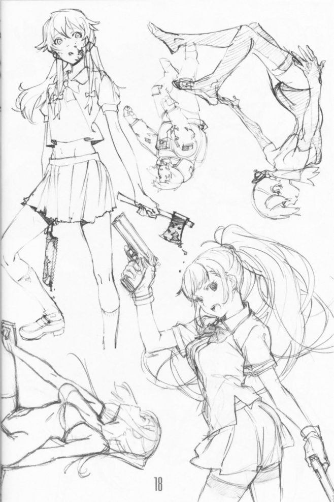 Girl holding different kinds of weapons - Female Poses - Drawing Reference