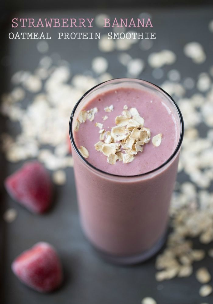 A drinkable breakfast: Strawberry Banana Oatmeal Protein Smoothie
