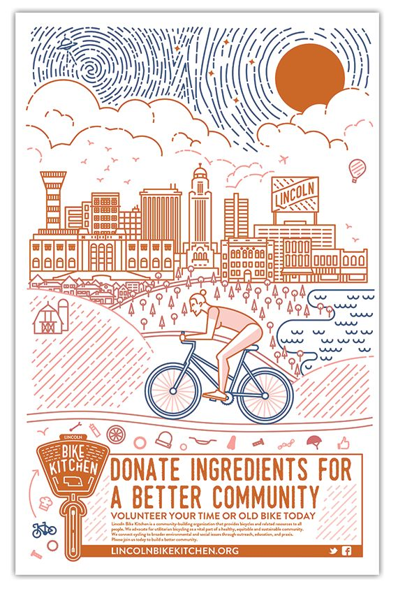 Nonprofit poster by designer Emmily Peterse for Lincoln Bike Kitchen #nonprofit #design
