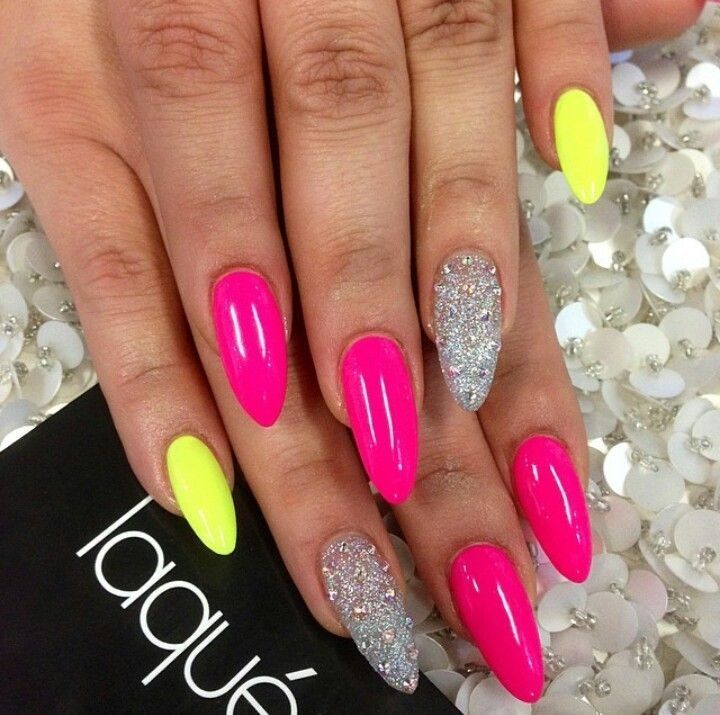 Fun oval nails pink yellow silver. Love these