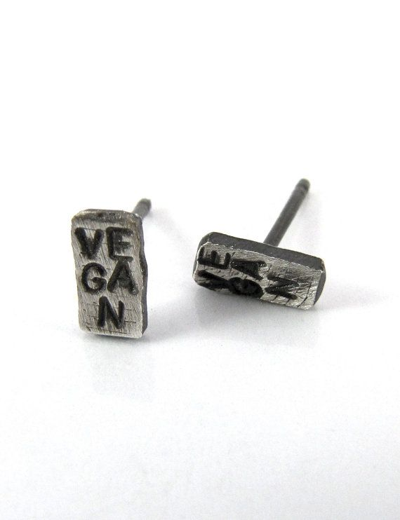 small vegan studs earrings sterling silver name by oropajewelry