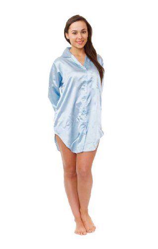 Womens Blue Satin Pajamas Nightshirt