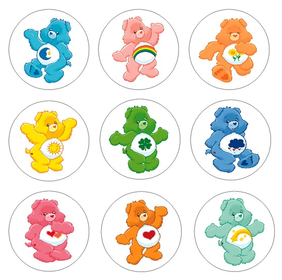 Care Bears 1 Inch Buttons and Magnets available at:  http://www.buttonpalooza.com  http://www.artfire.com/ext/shop/studio/buttonpalooza  http://www.etsy.com/shop/mlegirl42  Buttons - $4.49  Magnets - $6.49