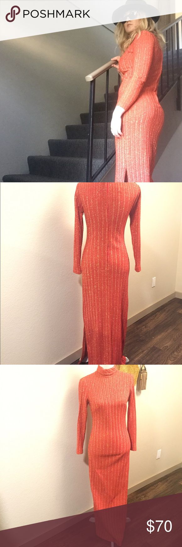 """Vintage Ribbed Long Sleeve Maxi Dress An amazing vintage long sleeve turtleneck dress. Orange with gold. Side of dress has leg slit. Zipper back. Excellent condition. Stretchy material, so fits many body types. Fits S-L.   Dimensions: Shoulder-Shoulder: 16"""" Pit-Sleeve: 16"""" Pit-Pit: 18"""" Length: 55"""" Dresses Maxi"""