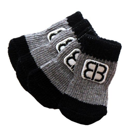 Petego Traction Control Indoor Socks for Dogs, Black/Gray, Small, Set of 4