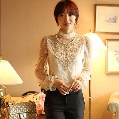Chaoliu Korean Styles Lace Loong Sleeves Base Shirt - USD $ 16.99