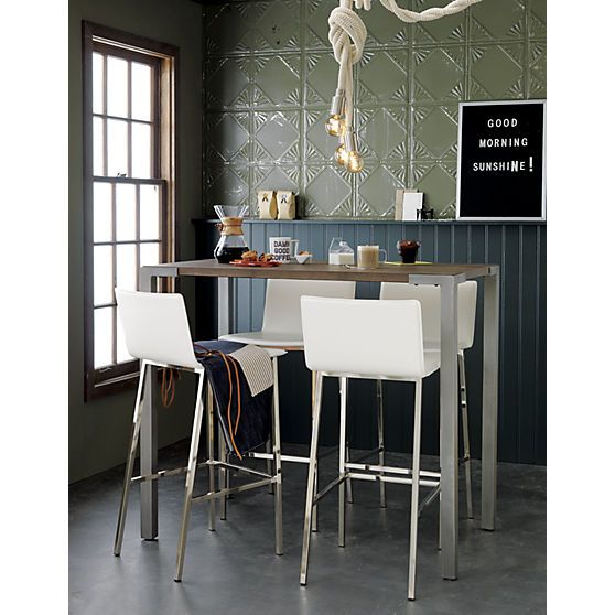 I really just like the walls. And the mug. And the sign. stilt high dining table in dining tables | CB2