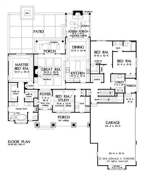 658 best home plans images on pinterest craftsman ranch for Basement floor plans with stairs in middle