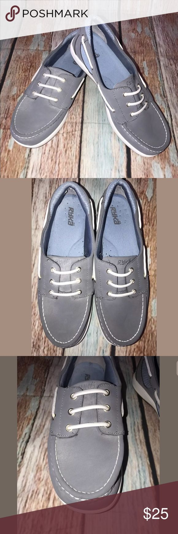 Ryka Chatham Nubuck Leather Slip-on Boat Shoes Ryka Chatham Nubuck Leather Slip-on Boat Shoes Womens Gray Size 9 Leather upper Ryka Shoes Flats & Loafers