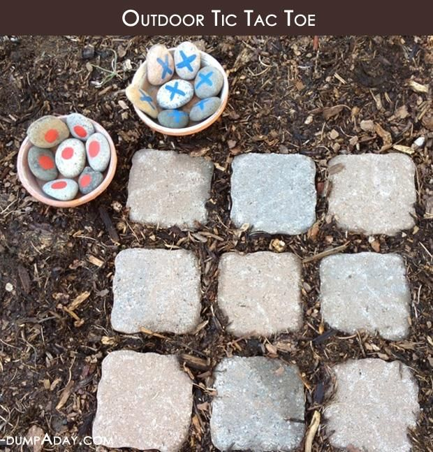 outdoor tic tac toe.  Ty needs to make this outside in the play area. Char's too little now, but your niece/nephews might enjoy it when they're over your house@Laura Parker