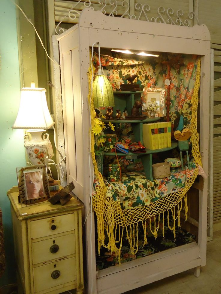 Gypsy Kitchen Decor An Old Wardrobe With The Doors Removed Makes A Great Display Cabinet