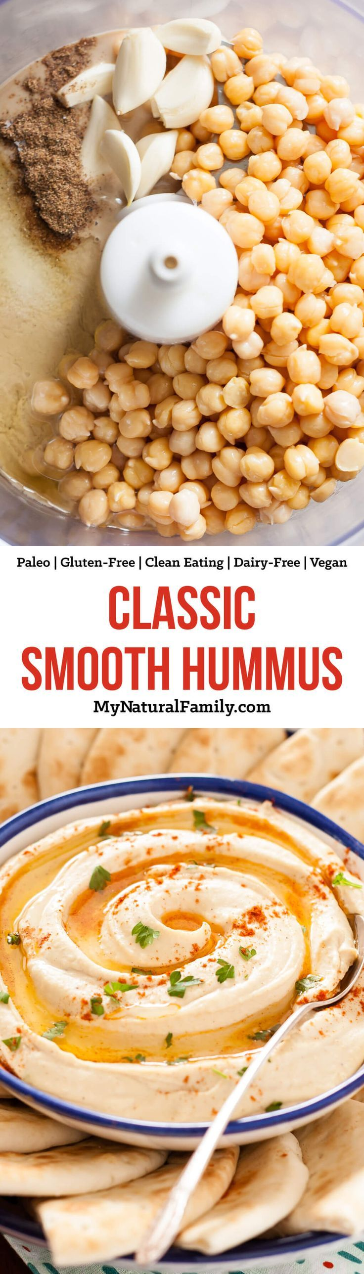 The secret to a perfectly smooth hummus is peeling the skins of the chickpeas off. It is definitely time consuming, but makes a HUGE difference. If you hold each chickpea between two fingers and pinch it a little, the skins will sort of just pop off. it adds about an extra 8-10 minutes to the prep time, but I think it's worth it. You can make the hummus with the skins on, but it will not have the same smooth texture.