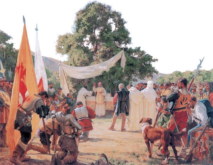 """La Pintura y la Guerra """"First Mass Held in Chile""""  Pedro Subercaseaux"""