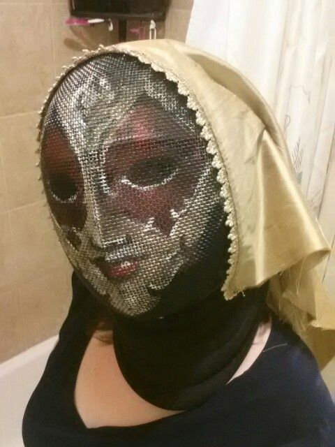 Painted fencing mask with veil.  #fencingmask #paintedfencingmask #HEMA #SCA