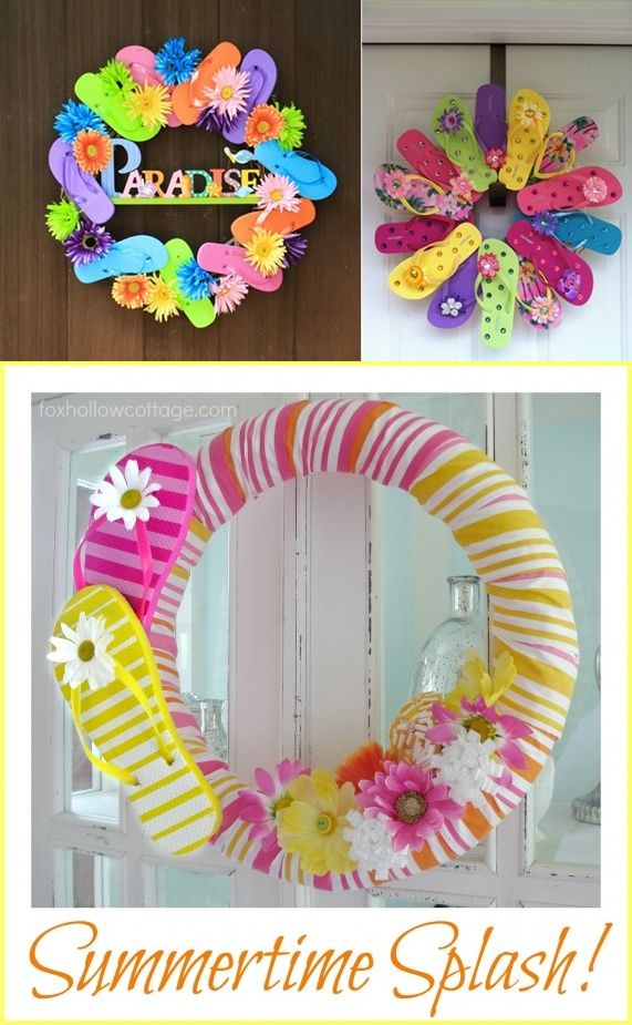DIY DollarTree Flip Flop Summer Wreath - DIY Craft Projects