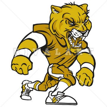 Mascot Clipart Image of Panthers Cougars Football Player Color Graphic