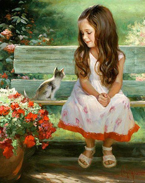 Girl and Kitty - Vladimir Volegov (Russian)