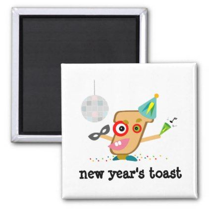 Funny New Year's Toast Cartoon Magnet - new years eve happy new year party design ideas holiday party