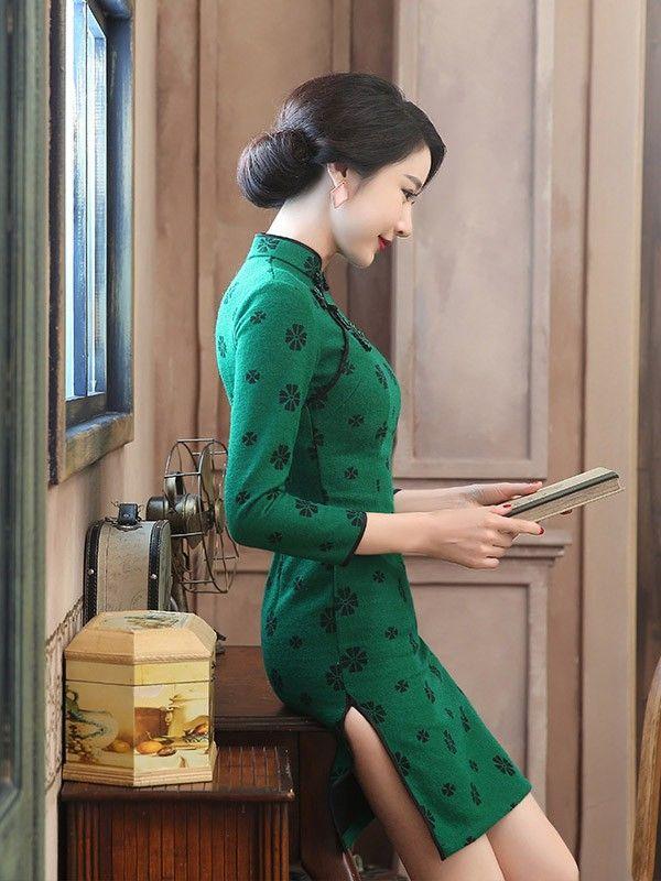 Wool Long Sleeve Qipao / Cheongsam Dress - CozyLadyWear