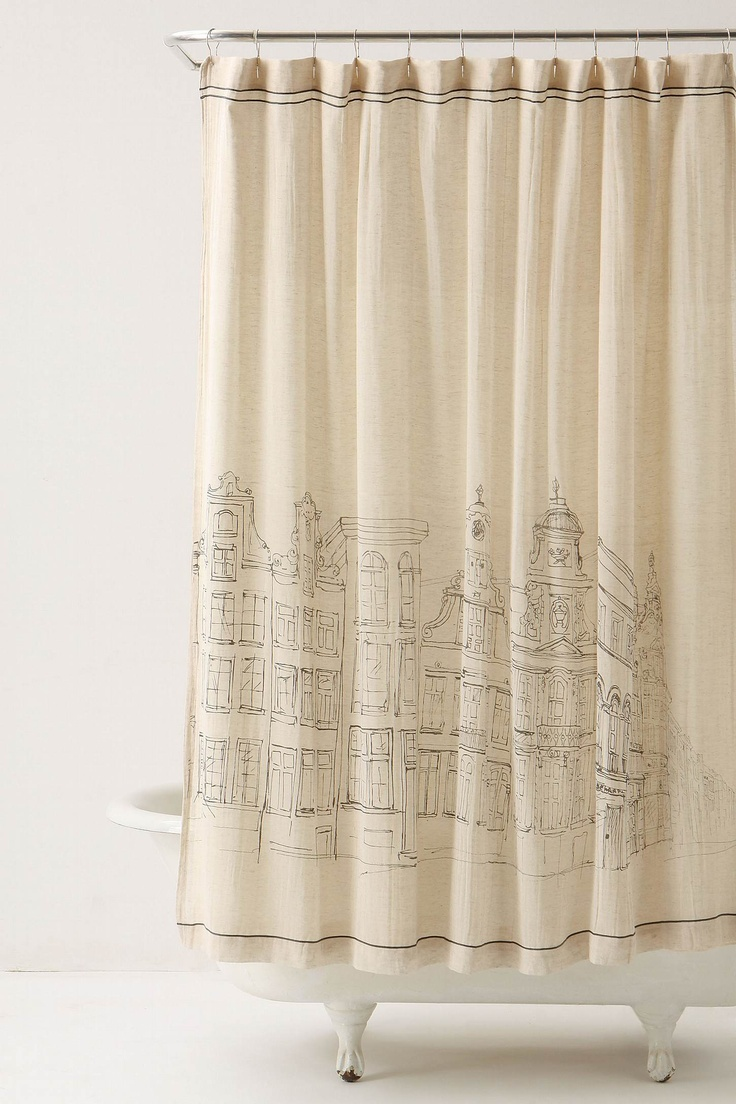 Bathroom plastic curtains - Building Outlines On Shower Curtain Great Diy Idea Grab A Permanent Marker And Draw