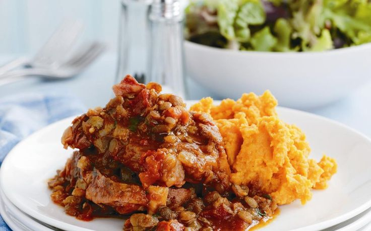 This thick, hearty lamb neck chop and lentil stew is brilliant served with a dollop of creamy kumara carrot mash. It's the perfect combination of flavours for a warming family dinner. By Australian Women's Weekly.