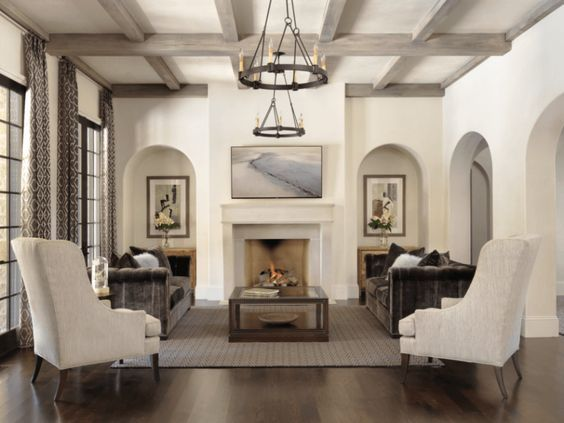 Transitional Living Room | velvet sofas | Italian plaster walls | wood beam ceilings | neutral color palette | classic yet modern | Design by ADJ Interiors