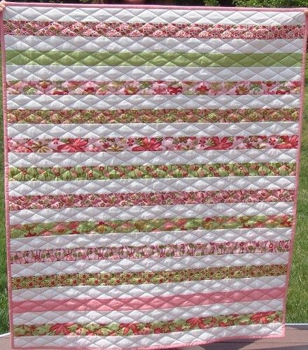 Simple but lovely jelly roll quilt with diamond quilting