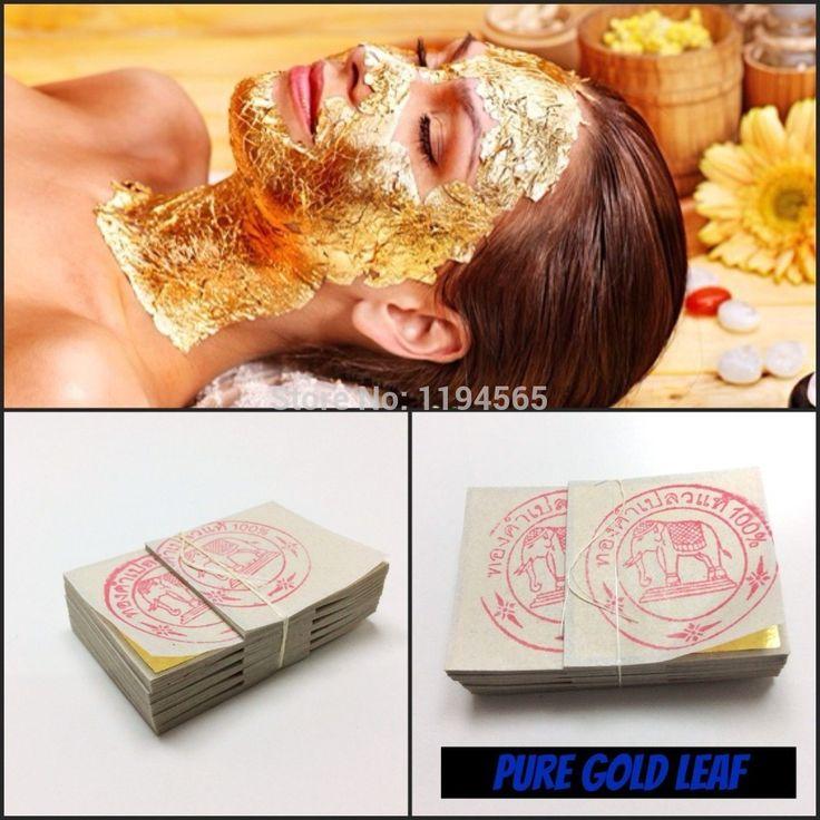 50 PCS folha de ouro folha de máscara Spa 24 K ouro máscara de equipamentos de salão de beleza Anti - rugas Face Lift beleza alishoppbrasil